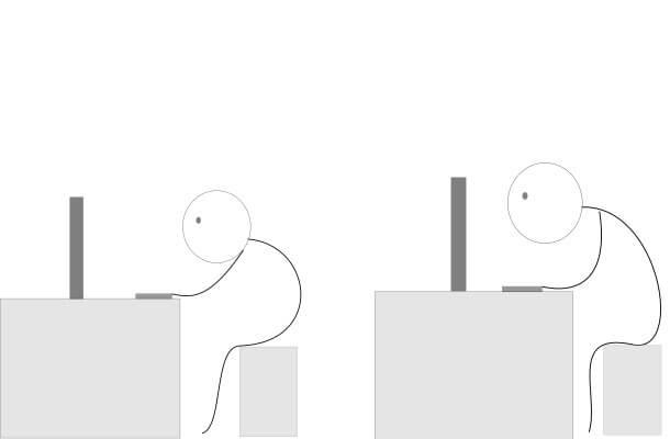 パソコンで猫背
